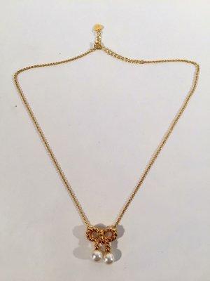 Exquisite Kette von Sonia Rykiel - vergoldet - Schleifen-Anhänger und Perlen
