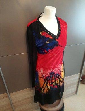 Exquiss's Vestido tipo jersey negro-rojo