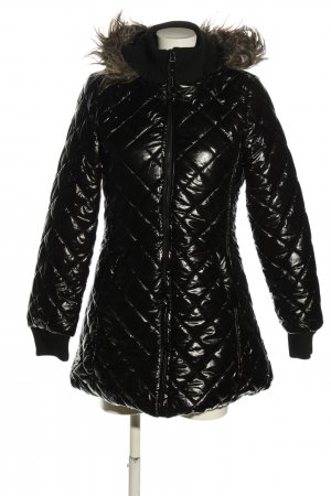 Exrellium Hooded Coat black quilting pattern casual look