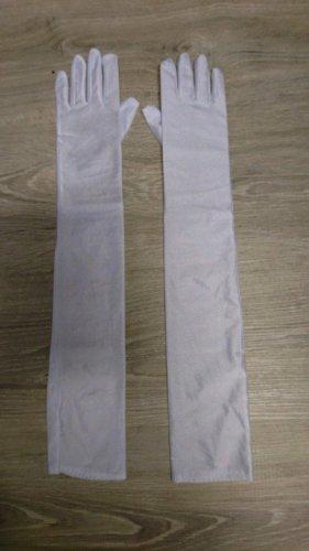 Extra Lange Satin Handschuhe (B485) in weiß