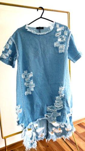 Vestido estilo camisa azul neón Algodón