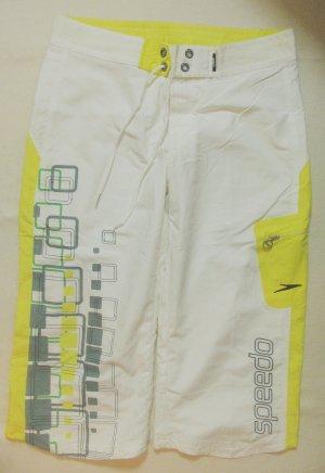 Extracoole 3/4 Sporthose,Boardhose von SPEEDO, weiss mit grau/hellgelb, Größe DE 40/42