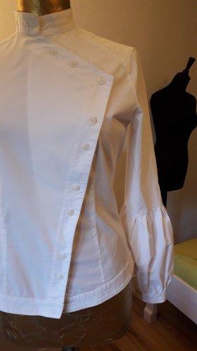 Blouse à col montant blanc coton