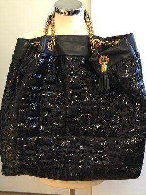 Extravagante Dolce & Gabbana Tasche - schwarzes Leder m. schimmernden Textil - Pailletten