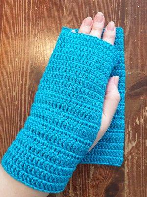 By you Handmade Fingerless Gloves light blue-turquoise