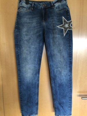 0039 Italy Vaquero skinny azul acero Algodón