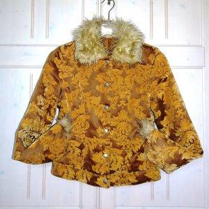 Veste en fourrure cognac-orange doré tissu mixte