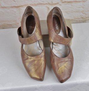 Extravagante Riemchen Pumps Schuhe Lisa Tucci Größe 40,5 Gold Braun Cognac Spitz Eckig Leder Schlüpfschuh Statement Absatz