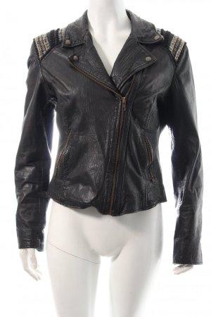 Extravagante Rockandblue Lederjacke schwarz-bronzefarben im Biker-Look
