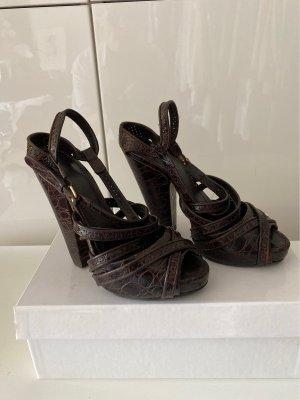 Givenchy Sandalias de tacón con plataforma marrón oscuro Cuero