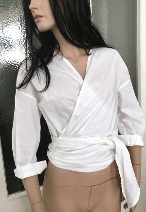 H&M Premium Kopertowa bluzka biały Bawełna