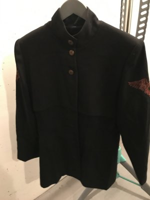 Blazer en laine noir-orange foncé