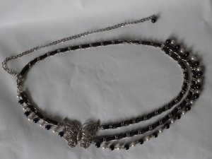 0039 Italy Cintura con catena nero-argento