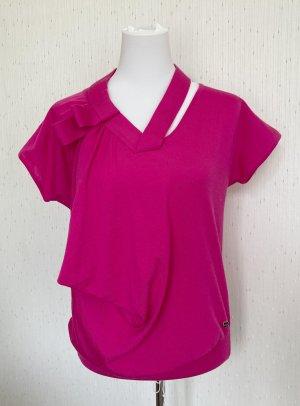 Escada V-Neck Sweater magenta-pink wool