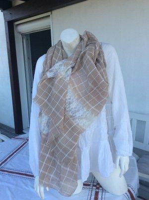 italienische Mode Écharpe à franges bronze-blanc cassé
