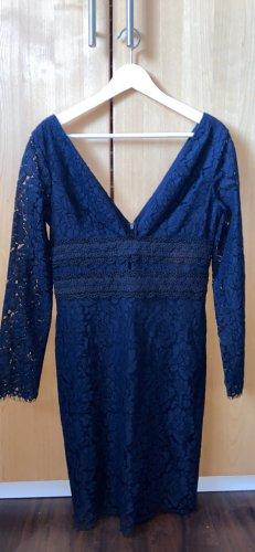 Extravagantes dunkelblaues Langarm Etui Kleid aus Spitze