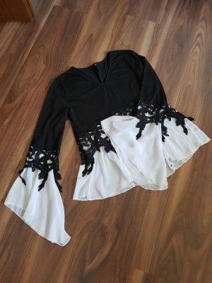 Made in Italy Camicia a tunica bianco-nero