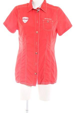 exxtasy Kurzarm-Bluse rot Schriftzug gedruckt Casual-Look