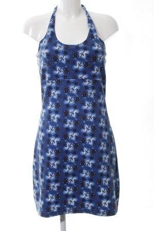 exxtasy Robe dos-nu bleu motif de fleur style décontracté