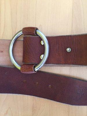 Friis & Company Lederen riem bruin-zilver