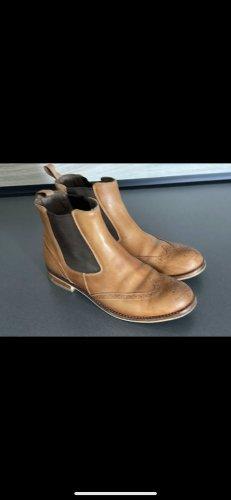 F&D Lavorazione Interamente Leder Boots Gr. 37 cognac