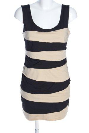 F&E Minikleid creme-schwarz Streifenmuster Casual-Look
