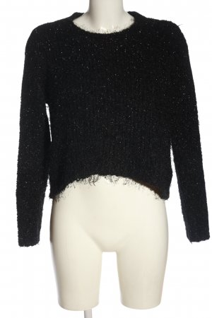 F&F Cropped Pullover schwarz Webmuster Casual-Look