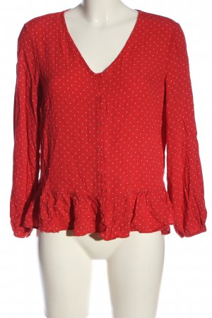 F&F Langarm-Bluse rot-weiß Allover-Druck Casual-Look