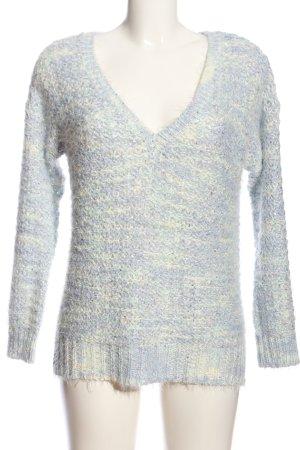 F&F V-Ausschnitt-Pullover blau-wollweiß abstraktes Muster Casual-Look
