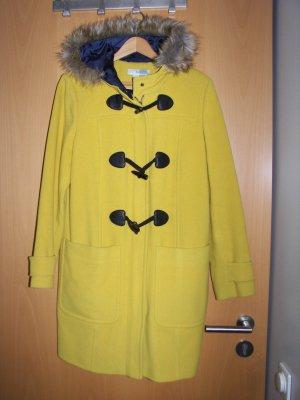 fa.boden (brit.) dufflecoat in frischem gelbton mit fell-kapuze gr. 38