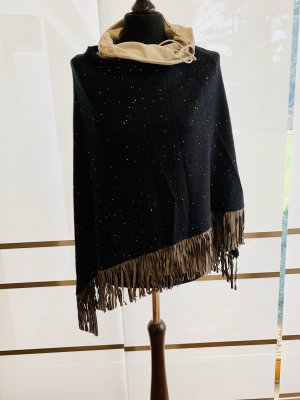 Fabiana Filippi Poncho en tricot noir-gris brun