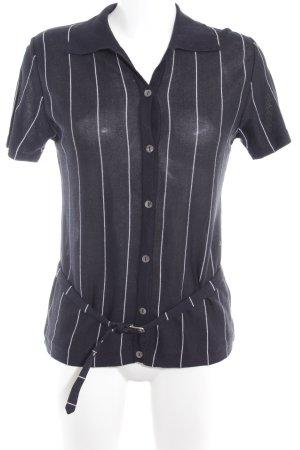 Fabiana Filippi Kurzarm-Bluse dunkelblau-weiß Streifenmuster Business-Look