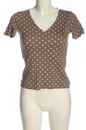 Fabiana Filippi V-Ausschnitt-Shirt braun-weiß Punktemuster Casual-Look