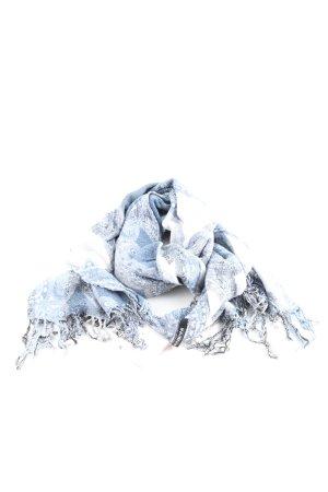 Fabiani Sjaal met franjes blauw-wit volledige print casual uitstraling