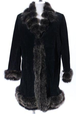Fabiani Manteau en cuir noir style décontracté