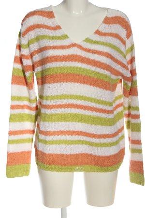 Fabiani V-Ausschnitt-Pullover Streifenmuster Casual-Look