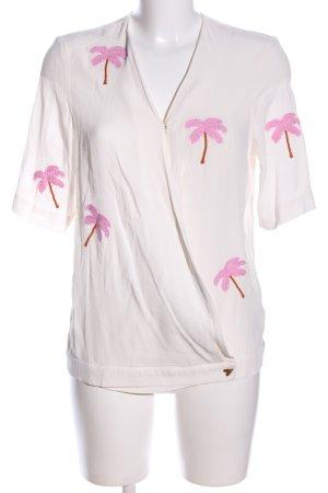 Fabienne Chapot Kurzarm-Bluse weiß-pink Allover-Druck Casual-Look