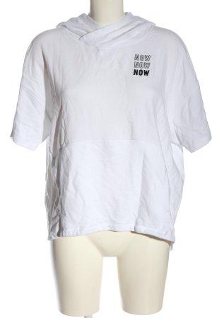 Fabletics Blusa con capucha blanco letras impresas look casual
