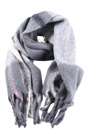 faera Écharpe à franges gris clair-blanc imprimé allover style décontracté