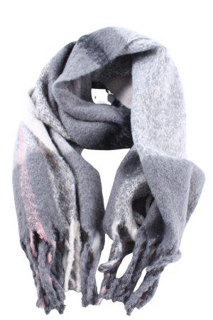faera Sjaal met franjes lichtgrijs-wit volledige print casual uitstraling