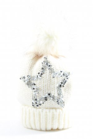 faera Gorro tejido blanco-color plata look casual