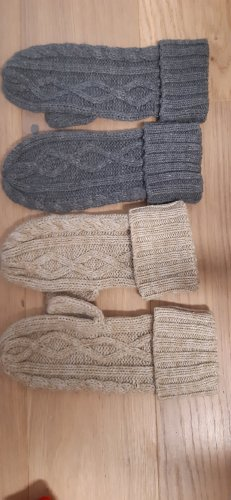 Only Gants en tricot gris foncé-beige clair