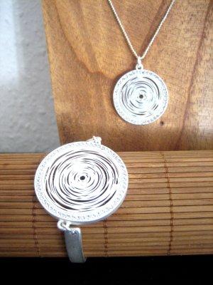 FAIBLE Extravaganter Armreif & Halskette im Set Matt Silber