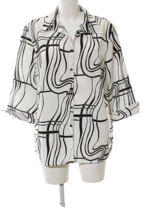 Fair Lady Kurzarmhemd weiß-schwarz abstraktes Muster Casual-Look