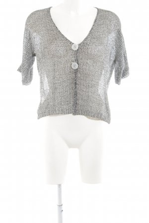 Fair Lady Kurzarmstrickjacke hellgrau meliert Transparenz-Optik