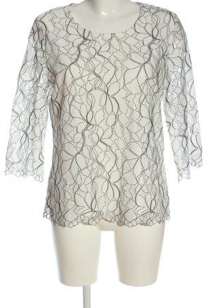 Fair Lady Blouse en dentelle blanc-noir motif abstrait élégant
