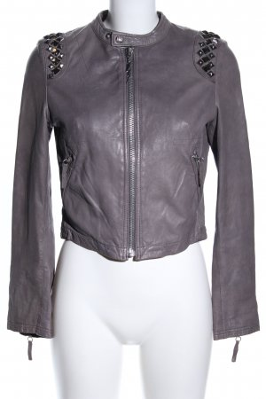 Faith connexion Lederjacke hellgrau Casual-Look