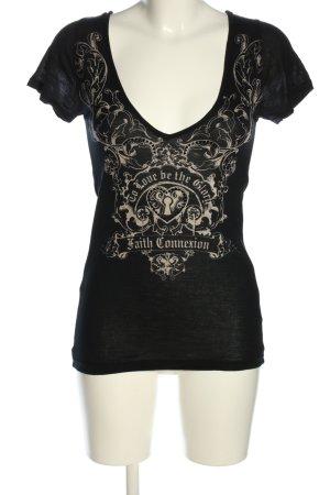 Faith connexion V-Ausschnitt-Shirt schwarz-wollweiß Motivdruck Casual-Look