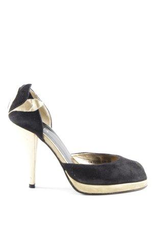 Faith Peeptoe Pumps schwarz-goldfarben Elegant