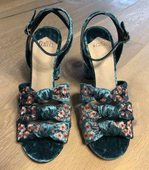 Faith Pumps türkis Blockabsatz Sandalen aus Velvet Absatzschuhe Peeptoes Abendschuhe Sommerschuhe Gr 40